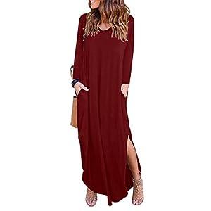 Women's V Neck Casual Side Pocket Long Sleeves Split Beach Loose Maxi Dress