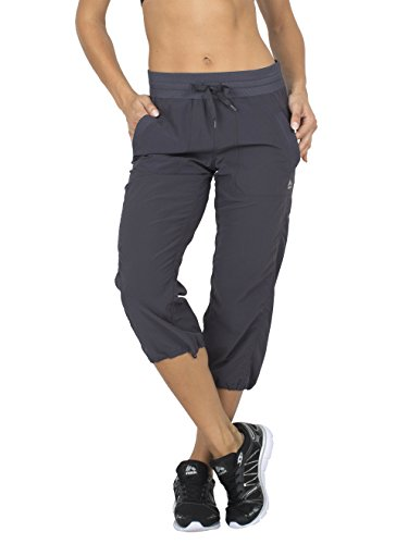 RBX Active Women's Lightweight Body Skimming Drawstring Woven Capri Pant,Charcoal Grey,Small (Corduroy Plush Pant)