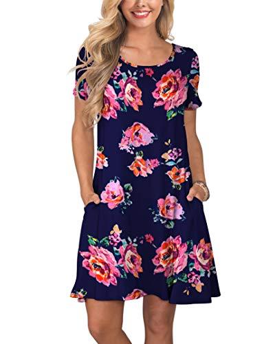 (KORSIS Women's Summer Floral Dresses Short Sleeve Tunic T Shirt Swing Dresses Pink Flower Navy Blue M)