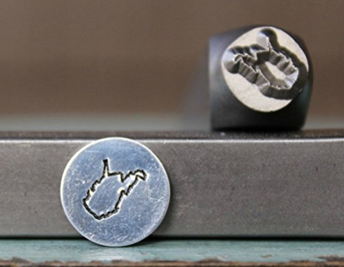 - 8mm West Virginia US State Metal Punch Design Jewelry Stamp