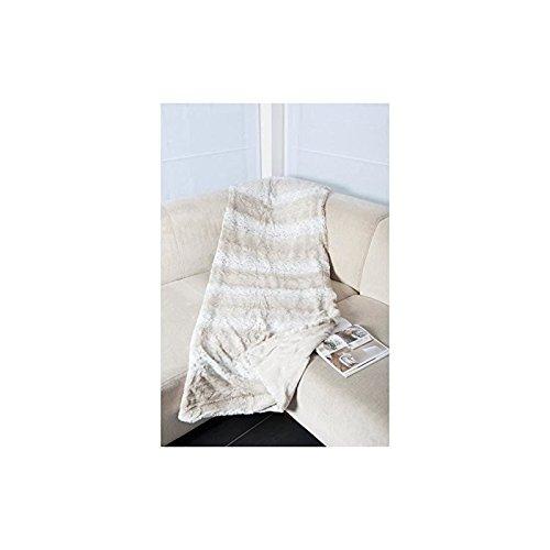 Comptoir du linge Couverture Fausse Fourrure Micro GL imp, Microfibre, Blanc, 240 x 220 cm