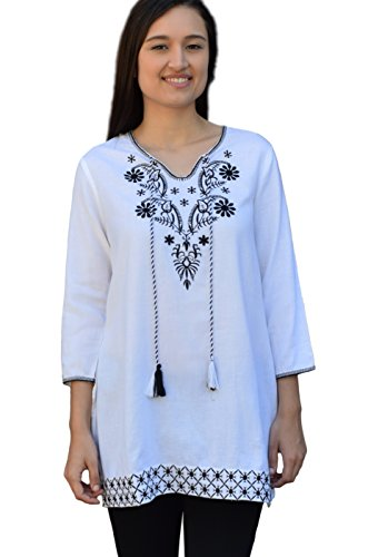 Ayo Pure Cotton, Embroidered Tunic, Top, Kurti, with Tassles: Off White: Sz XL -
