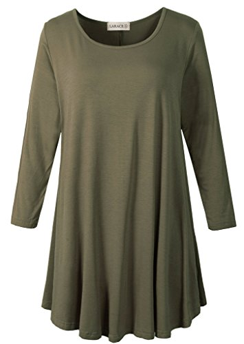 LARACE Women 3/4 Sleeve Tunic Top Loose Fit Flare T-Shirt(3X, Army Green)