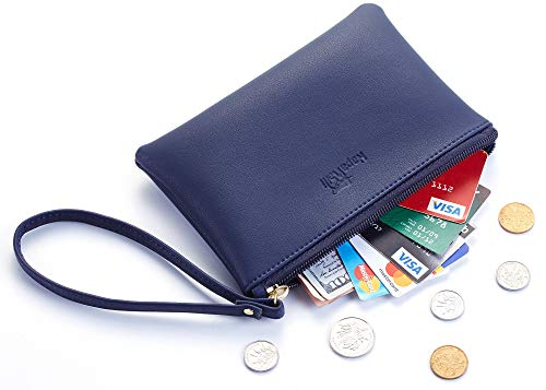 NapaWalli Genuine Leather Cash Coin Purse Pouch Make up Cellphone Bag with Strap (Cutie Blue Navy)