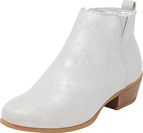 Cambridge Select Women's Closed Toe Chunky Stacked Low Metallic Heel Ankle Bootie,8.5 M US,Silver ()