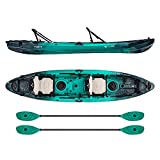 Vibe Kayaks Yellowfin 130T   13 Foot   Tandem Angler and Recreational Two Person Sit On Top Fishing Kayak with 2 Paddles and 2 Hero Comfort Seats (Caribbean Blue - Caribbean Blue Evolve Paddle)