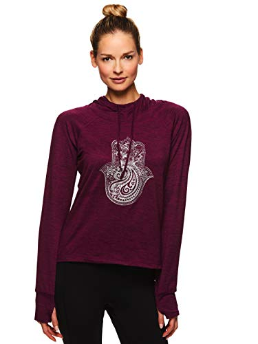 Gaiam Women's Graphic Long Sleeve Hoodie - Hooded Activewear Workout & Yoga Sweater - Maya Pickled Beet Heather, Large