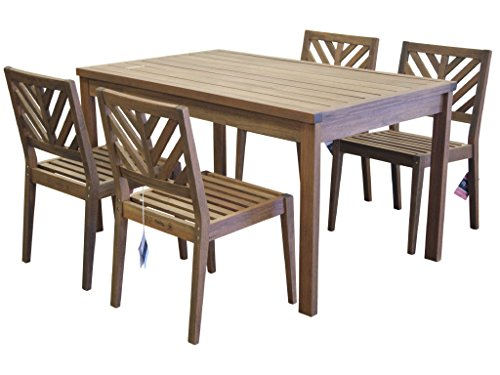 Wood Patio Table Chairs - 3