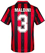 Score Draw AC Milan Home Maldini 3 Retro Jersey 1988-1989 (Retro Flock Printing)