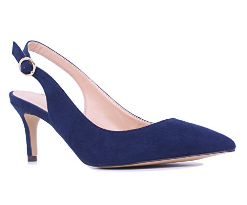 - SUNETEDANCE Women's Slingback Pumps Pointed Toe Kitten Heels Sandals Slip On Stiletto Mid Heels Shoes, Suede Navy, US7 B(M) US