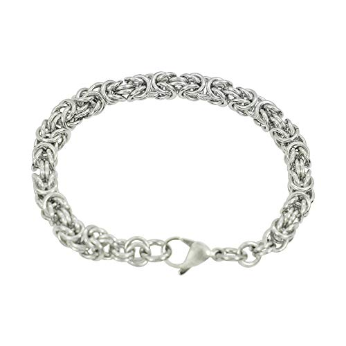 - Divoti Stainless Steel Round Byzantine Chain Bracelet 8mm - 8.5 inches