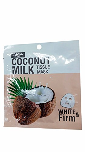 2 Mask sheets of Facy Coconut Milk Tissue Mask White & Firm, help nourishing, anti-aging, brighting, and increasing skin flexibility. (21 g/ mask sheet)