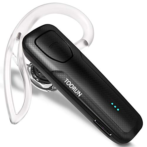 TOORUN Bluetooth Headset 10 Hours Playing Time with Voice Reminder and Noise Cancelling Mic Compatible with Android and iOS Smart Phones-Black