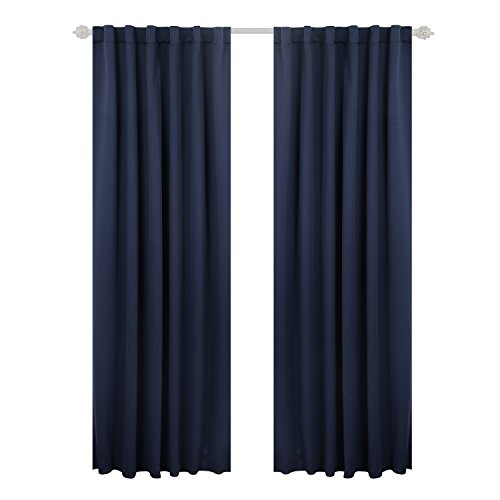 (Deconovo Solid Back Tab Curtains Blackout Curtains Thermal Insulated Drapes and Curtains Room Darkening Curtains for Bedroom 52x95 Inch Navy Blue 1)
