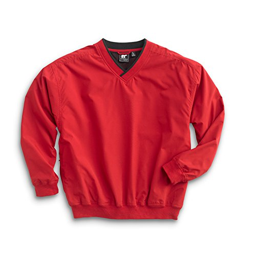 Men's Fully Lined V-Neck Golf and Wind Shirt - Red/Black, Large ()