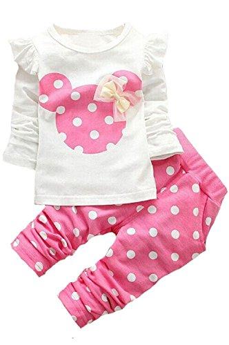 2016 Kids Clothes Girls Baby Long Sleeve Shirt Pants Outfits Clothing Set(Pink,1T) (Dot Baby Polka)