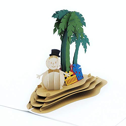 Paper Love Pop Up Winter Island Card, 3D Xmas Cards, Holiday Popup Card, Snowman Card, Winter Birthday Card, Christmas Gift