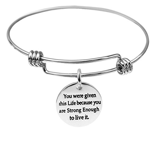 UNKE A Soul You Were Given This Life Because You Are Strong Enough To Live It Inspirational Expandable Bangle Bracelet