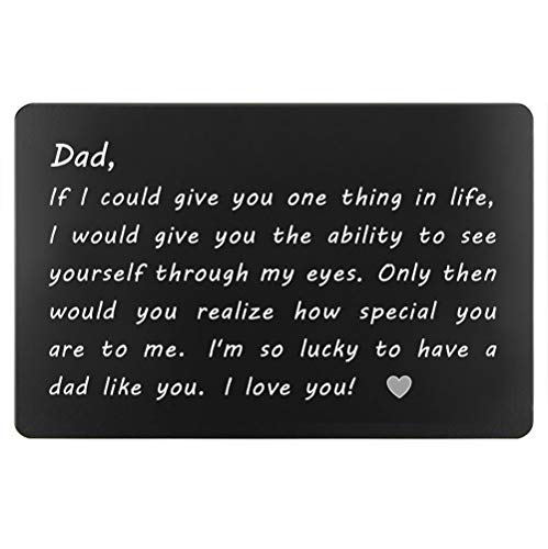Dad Gifts from Daughter Son for Birthday, Engraved Wallet Insert for Daddy, Fathers Day Gifts, Christmas Gifts for Dad(Lucky to Have A Day Like You)