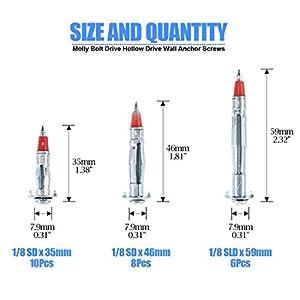 "Glarks 24Pcs Heavy Duty 1/8"" inch 35/46/59mm Zinc Plated Steel Molly Bolt Drive Hollow Drive Wall Anchor Screws Kit"