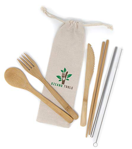(Reusable Travel Cutlery Set -Bamboo Fork,Knife, Spoon,Chopsticks, Stainless Steel Straw, Cleaning Brush with Carrying Case- Zero Waste Utensils - Portable Flatware for Camping, Picnic, Office, Lunch)