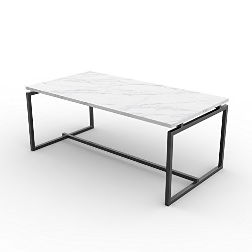 Giantex Coffee Accent Tea Table for Modern Living Room Bedroom Steel Metal Pine Frame Tables W/Faux Marble Top Cocktail Table (41.5