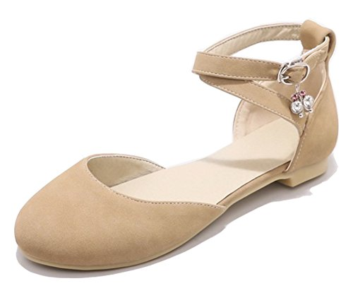 DOrsay Toe Womens Apricot Buckled Aisun Round Flats Driving Ankle Strap With Cars Rhinestone Comfort Shoes 8ZZ4WH