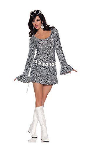 [Women's Retro Mod GoGo Costume - Fab, Black/White, X-Large] (70s Couple Costumes)