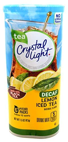 Crystal Light Iced Tea Decaffeinated Lemon Natural Flavor, 12-Quart 1.5-Ounce Canister (Pack of 3)