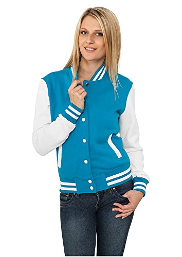 Urban Classic Women's Ladies 2-tone College Sweatjacket Long Sleeve Sweater Jackets Multicolour (Tur/Wht 00215)