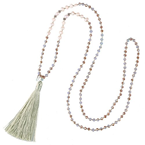 - KELITCH New Pearl Crystal Beaded Necklace Handmade Pearl Strand Necklace Long Tassels Pendants Charm Jewelry