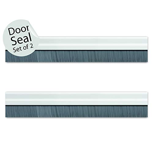 Deco Window Door Seal Bottom Brush Dust Stopper Strip for Home (94cm/36.5inch) Aluminium Plate with Nylon Brush – Ivory (Set of 2) Price & Reviews