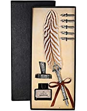 Kapmore Calligraphy Set Vintage Feather Dipping Pens for Kids Adults Beginners or Professional