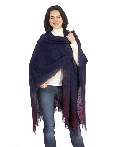 Kerry Woollen Mills Celtic Ruana Long Shawl Irish Wool Lambswool (Blueberry Wine)