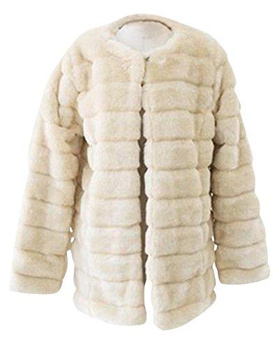 Femme Gilet Vest Manteau Coat avec Manches Longues en Fausse Fourrure Beige