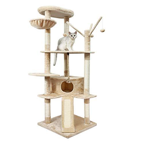 Meerveil Kratzbaum XXL, großer Kletterbaum mit Kratzsisal, Stabiler Katzenbaum, Säulen mit Natürlicher Sisal Umwickelt…