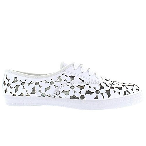 Jeffrey Campbell Peg Daisy - White Leather Floral Laser Cut Sneaker - Size: (Daisy Peg)