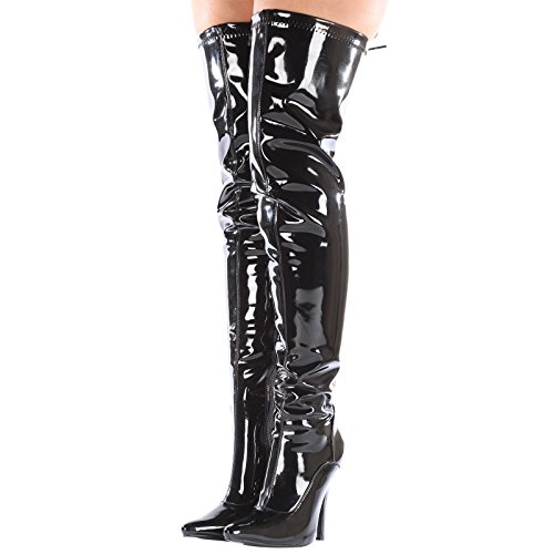 Boots Lace High Heel Anastasia Black High up ByPublicDemand Back Thigh Stiletto Patent Zip WqvBnzzAc