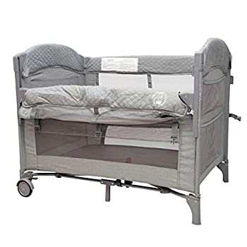 Image of BabyWombWorld Premium 2-in-1 Baby Bed Bedside Sleeper & Portable Crib Cot - Grey Baby