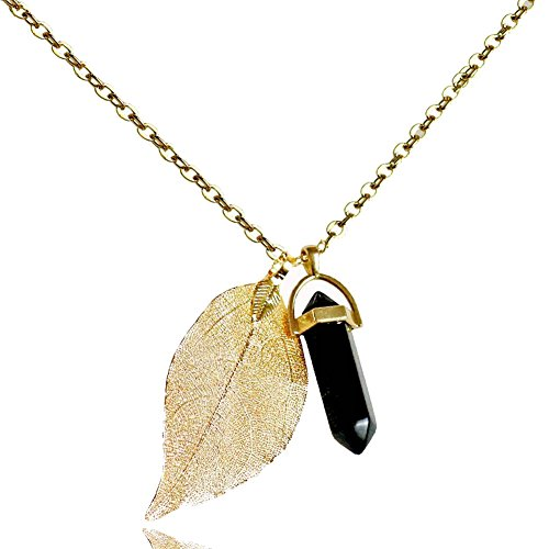 Injoy Jewelry Black Agate Gemstone Necklace Crystal Healing Pointed Leaf Pendant Necklace with Gold Plated Chain