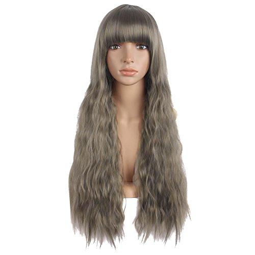 MapofBeauty 28 Inch/70cm Fashion Beautiful Women Flat Bang Long Wave Curly Wig (Granny Gray/Flax Brown) (Beautiful Wig)