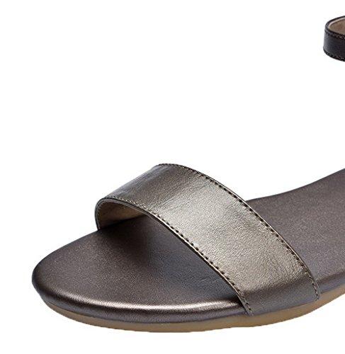 Heels WeiPoot Gold Women's Solid Low Open Buckle Pu Sandals Toe qqTEAv
