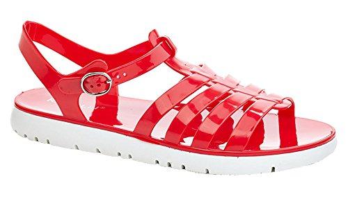 Rasolli Women's Fisherman T-Strap Jelly Flat Buckle Closure Soft Gladiator Sandals ()