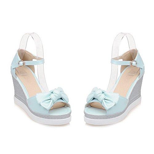 Buckle Bows MJS02579 Sandals 1TO9 Blue Wedges Platforms Urethane Womens TUxwqtZa