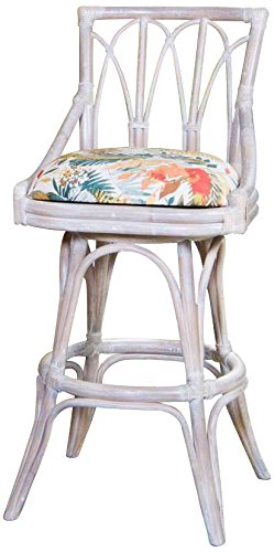 Alexander & Sheridan CUB10230-RWD-DDS Cuba Swivel Barstool in Rustic Driftwood Finish with Armless, 30