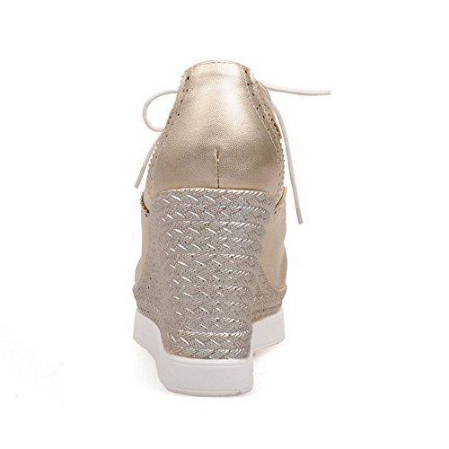 AllhqFashion Damen Weiches Material Schnüren Rund Zehe Hoher Absatz Rein Pumps Schuhe Golden