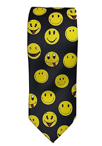Men's Black tie with yellow emoji smiley faces novelty Necktie Tie Face Necktie