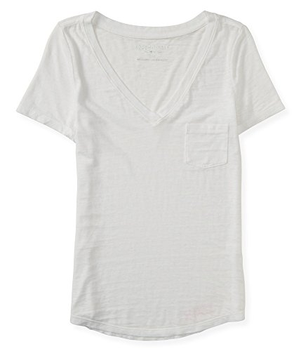 Aeropostale Women's V-Neck Pocket Tee Shirt M Bleach