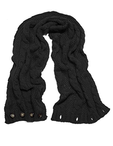Dahlia Women's Cable Knit Infinity Scarf - Button - Black (Crochet Pattern For Infinity Scarf With Buttons)