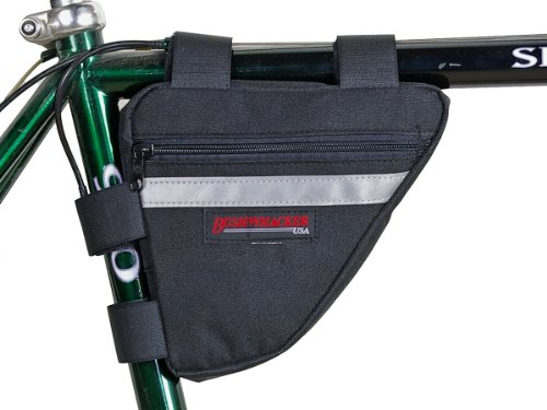 Bushwhacker Ketchum Black - Bicycle Frame Bag Cycling Triangle Pack Bike Under Seat Top Tube Bag - w/ Reflective Trim by Bushwhacker